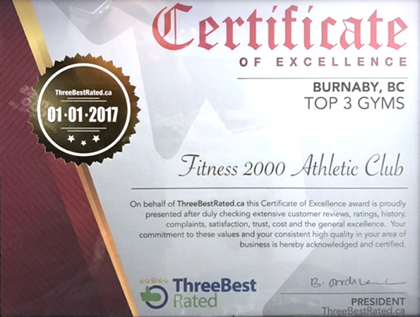 Fitness 2000 Three Best Rated Certificate